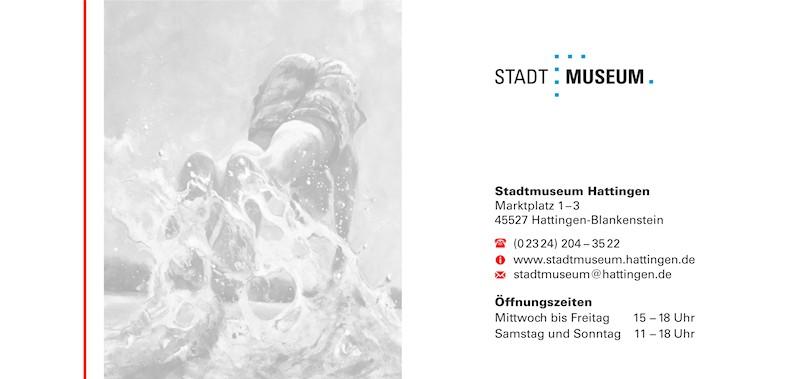 """Einladungskarte zur Ausstellung """"Im Augenblick"""" von Bettina Bülow-Böll im Stadtmuseum Hattingen, Rückseite"""
