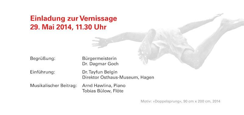 """Einladungskarte zur Ausstellung """"Im Augenblick"""" von Bettina Bülow-Böll im Stadtmuseum Hattingen, rechte Innenseite"""