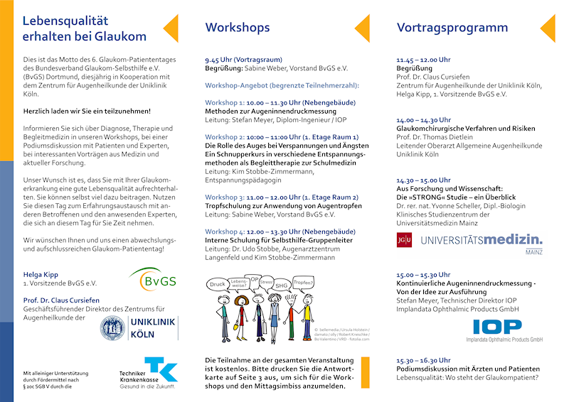 Bundesverband Glaukom-Selbsthilfe e.V., Flyer Glaukomtag 2014, Mediadesign Michael Wölm