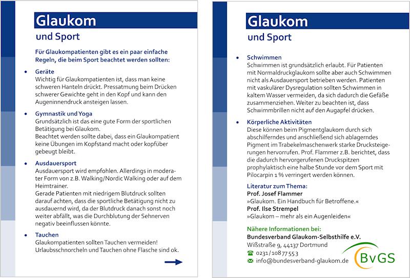 Bundesverband Glaukom-Selbsthilfe e.V., Info-Karte Glaukom und Sport