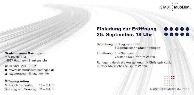 """Einladungskarte zur Ausstellung Künstlergruppe """"B1"""" im Stadtmuseum Hattingen, 2014, Rückseite"""