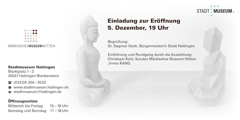 Einladungskarte zur Ausstellung Jinmo KANG im Stadtmuseum Hattingen, 2014, Rückseite