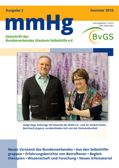 Bundesverband Glaukom-Selbsthilfe e.V., Titelblatt Zeitschrift mmHg, Ausgabe 2, Mediadesign Michael Wölm, Hattingen