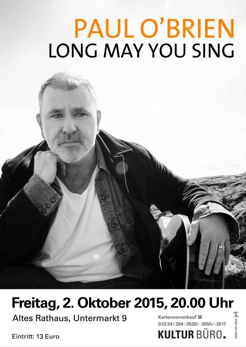 Konzertplakat Paul O'Brien für das Kulturbüro Hattingen