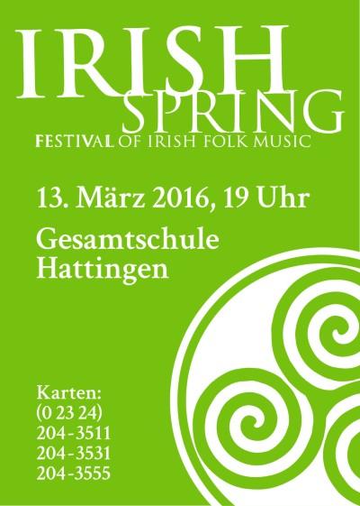 Werbeanzeige Irish Spring Festival 2016 für das Kulturbüro Hattingen