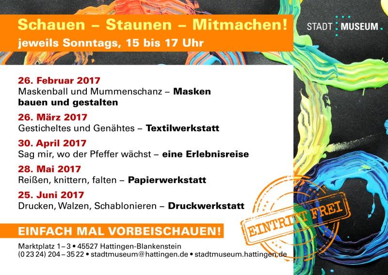 Werbepostkarte Familiennachmittage 2017 im Stadtmuseum Hattingen, Rückseite