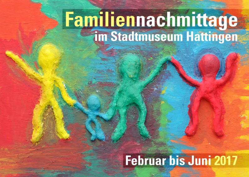 Werbepostkarte Familiennachmittage 2017 im Stadtmuseum Hattingen, Vorderseite
